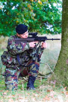 Commandant Aine Flynn takes aim during an excercise in the Glen of Imaal, Co.Wicklow as the 51st Infantry Group prepare for the United Nations Interim Force in Lebanon. Photo: Michael Kelly
