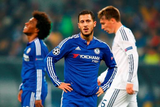 Eden Hazard of Chelsea looks on during the UEFA Champions League Group G match between FC Dynamo Kyiv and Chelsea at the Olympic Stadium on October 20, 2015 in Kiev, Ukraine. (Photo by Clive Rose/Getty Images)