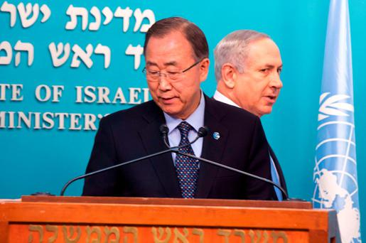 Israeli Prime Minister Benjamin Netanyahu (R) and United Nations chief Ban Ki-moon hold a joint presser at the Prime Minister's office in Jerusalem. Photo: Getty Images