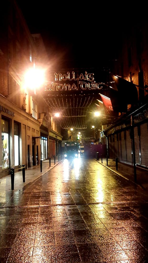 Christmas lights have already been erected on Grafton Street