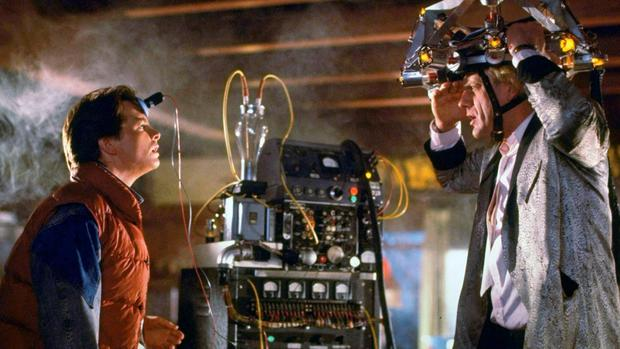 Michael J Fox and Christopher Lloyd as Marty McFly and Doc Brown in Back to the Future