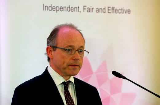 Director for Public Prosecutions for Northern Ireland Barra McGrory speaks during a press conference where he said that allegations of security force collusion in at least 24 murders in Northern Ireland by an army intelligence agent known as Stakeknife should be investigated by police
