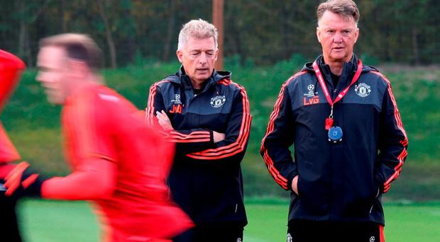 Manchester United manager Louis van Gaal (right) and physiotherapist Jos van Dijk during a training session at Carrington