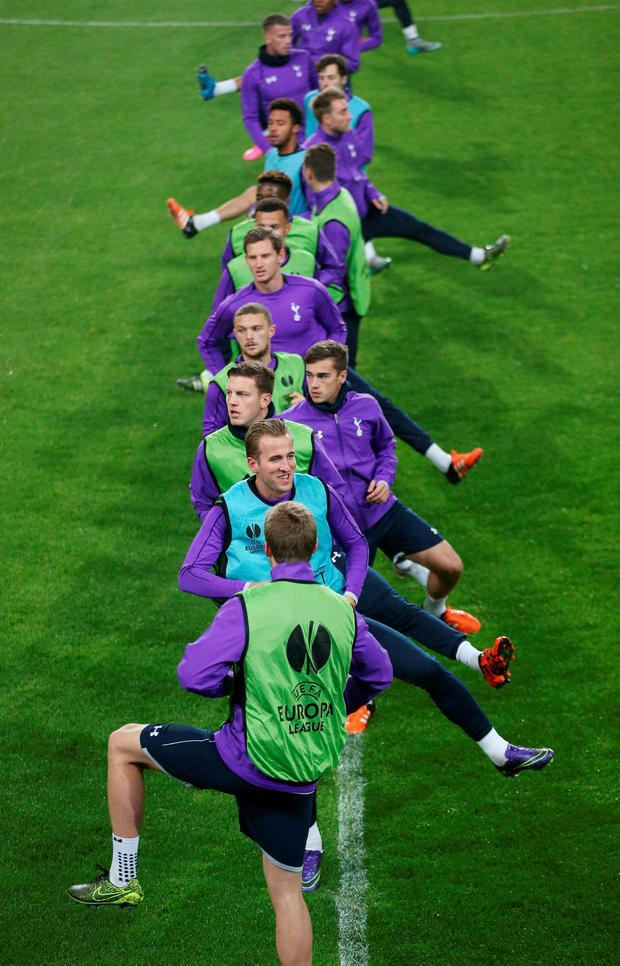 Tottenham Hotspur, with Harry Kane (front) among them, train at the Constant Vanden Stock Stadium in Brussels.