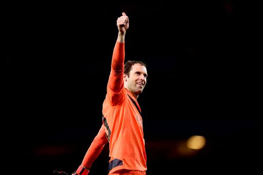 Arsenal's Petr Cech celebrates after the final whistle