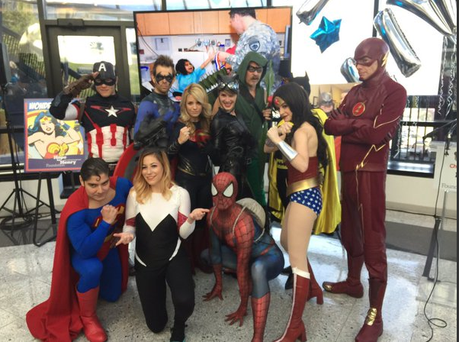 The troupe of superheros at the children's hospital Credit: Twitter/suraechinn