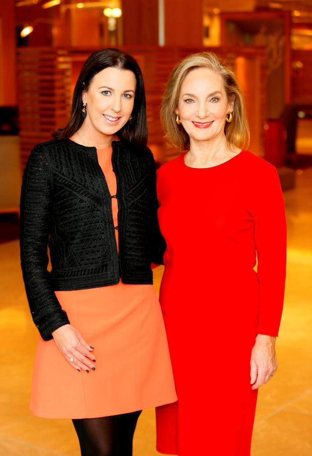 Pictured: Managing Director of Image Publications, Clodagh Edwards with Mary Finan, the former Chair of the RTE Authority and one of the founding partners of Wilson Hartnell Public Relations, this year's recipient of the Lifetime Achievement Award at the 2015 IMAGE Businesswoman of the Year Awards. The ceremony will take place on Monday, November 2, 2015 at the DoubleTree by Hilton Hotel (Burlington Road, Dublin 4). Pic: Kieran Harnett