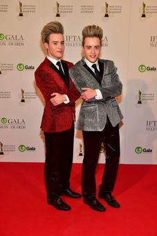 Jedward arriving on the red carpet for the IFTA Gala Television Awards at the Double Tree by Hilton Hotel, Dublin. Photo by Michael Chester