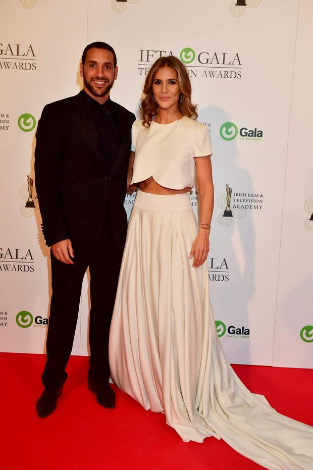 Julian Okines and Amanda Byram arriving on the red carpet for the IFTA Gala Television Awards at the Double Tree by Hilton Hotel, Dublin. Photo by Michael Chester