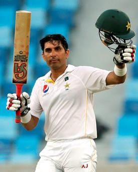 Pakistan's Misbah-ul-Haq celebrates his century