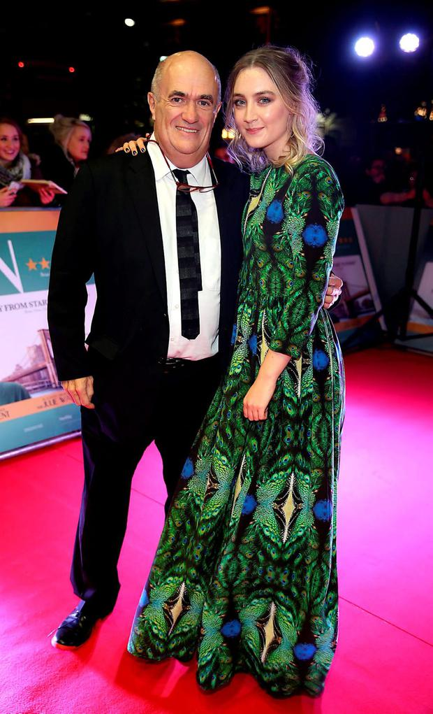 Brooklyn Author Colm Toibin and Saoirse Ronan at The Irish premiere screening of the film Brooklyn at The Savoy Cinema Dublin, Pic Brian McEvoy