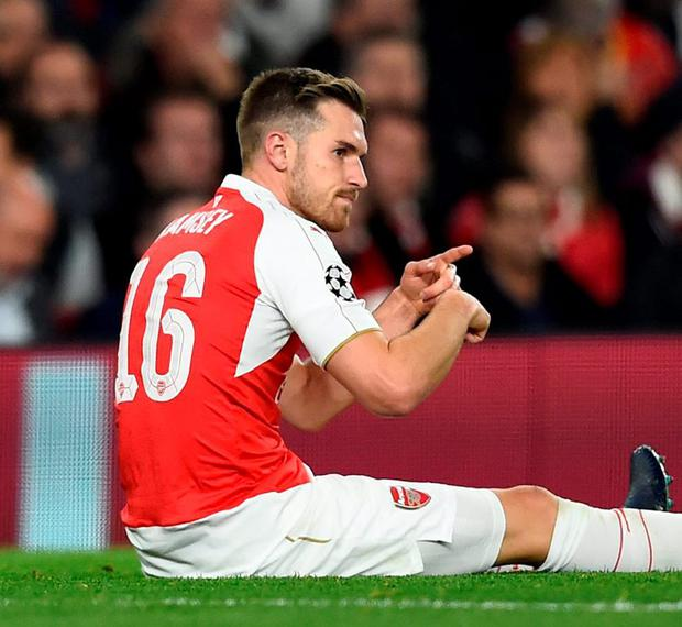 Arsenal's Aaron Ramsey after sustaining an injury