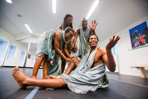 Dancers Magcino Pamella Shange, Mzamo Jabu Siphika, Sfiso Selby Khumalo and Sifiso Thamsangqa Majola prepare for the opening night of Koanga. Photo: Patrick Browne