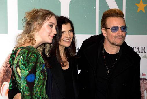 Bono & wife Ali Hewson join guests at the Irish Premiere of Brooklyn at The Savoy, Dublin, Ireland - 22.10.15. Pictures: Jerry McCarthy / VIPIRELAND.COM **IRISH RIGHTS ONLY** *** Local Caption *** Saoirse Ronan, Bono & wife Ali Hewson