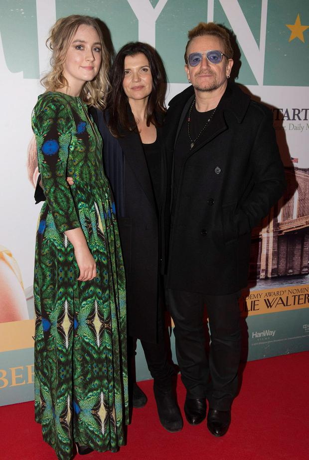 Bono & wife Ali Hewson join guests at the Irish Premiere of Brooklyn at The Savoy, Dublin, Ireland - 22.10.15. Pictures: Jerry McCarthy / VIPIRELAND.COM **IRISH RIGHTS ONLY** *** Local Caption *** Saoirse Ronan, Ali Hewson, Bono