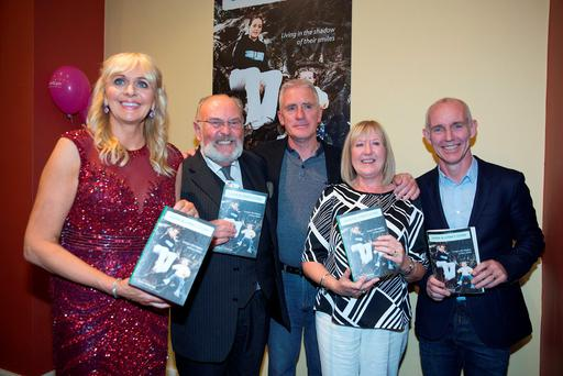 22/10/15 Jane McKenna and her husband Brendan with Miriam O'Callaghan, Senator David Norris and Ray Darcy at the launch of her memoirs Laura and Lynn's Story, Living in the shadow of their smiles, at the Freemason's Hall in Dublin. Picture:Arthur Carron