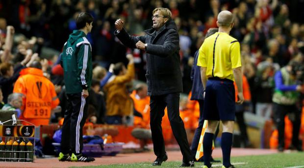 Liverpool manager Juergen Klopp celebrates after Emre Can scores
