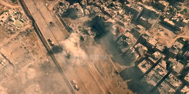 The sheer scale of destruction can be clearly seen Credit:YouTube/Russiaworks.eu