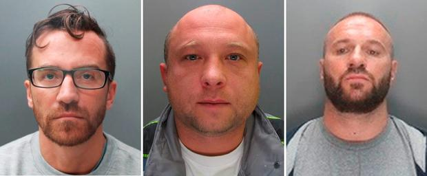 (From left) Sebastian Kimel, 40, Arkadiusz Szarkowski, 42, and Krzysztof Kasza, 42, the gang of Polish robbers found guilty of killing Miltiades Papadopoulosin his own home, as they will be sentenced today at the Old Bailey in London. Photo: Hertfordshire Constabulary/PA Wire