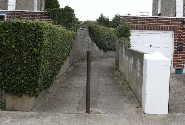 The lane between Ann Devlin Road and Ann Devlin Drive in Rathfarnham where the schoolbag belonging to Philip Cairns was found.
