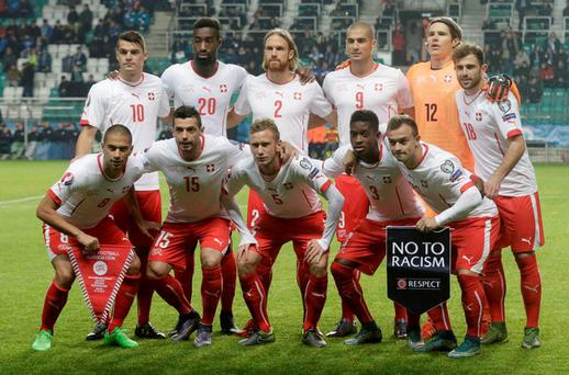 Switzerland's national soccer team players pose before their Euro 2016 qualification soccer match against Estonia earlier this month