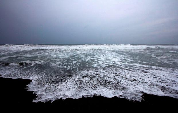 Waves break on the beach in Boca de Pascuales, Colima State, Mexico, on October 22, 2015. Fast-moving Patricia grew into an