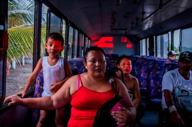Residents of Boca de Pascuales, Colima State, Mexico, are evacuated on October 22, 2015, before the arrival of hurricane Patricia. Fast-moving Patricia grew into an