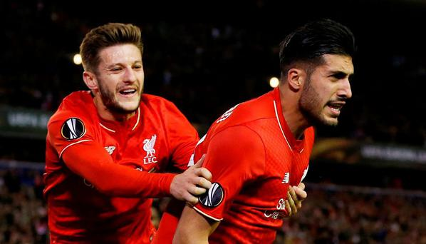 Emre Can celebrates scoring the first goal for Liverpool with Adam Lallana Reuters / Phil Noble