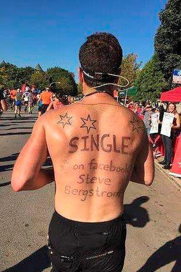 Steve Bergstrom runs marathon with an ad on his back Credit: Facebook