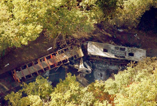 An aerial view of the site where a coach (R) carrying members of an elderly people's club collided with a truck (L) outside Puisseguin near Bordeaux, western France, October 23, 2015. REUTERS/Regis Duvignau