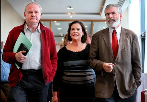 Sinn Féin's Martin McGuinness, Mary Lou McDonald and Gerry Adams