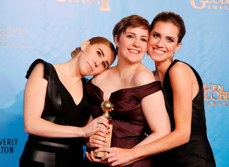 'Girls' creator and actress Dunham with cast members Williams and Mamet after 'Girls' won award for Best Televison Series, Comedy