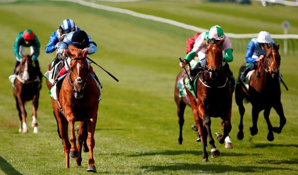 Frankie Dettori riding Foundation (L) win The Juddmonte Royal Lodge Stakes at Newmarket last month