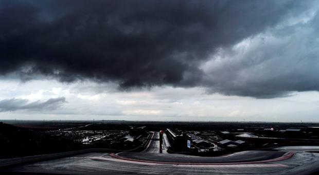 Storm clouds hover over the Circuit of The Americas in Austin, Texas, as a heavy downpour postponed the second practice session ahead of the US Formula One Grand Prix