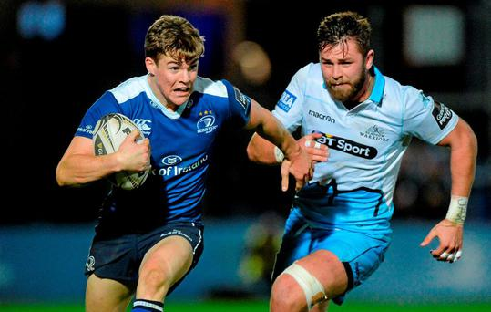 23 October 2015; Garry Ringrose, Leinster, is tackled by Rory Hughes, Glasgow Warriors. Guinness PRO12, Round 5, Leinster v Glasgow Warriors. RDS, Ballsbridge, Dublin. Picture credit: Matt Browne / SPORTSFILE