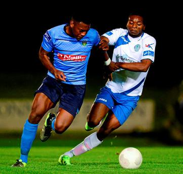 UCD's Maxi Kouogun in action against Finn Harps' Wilfried Tagbo