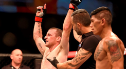 Neil Seery is announced victorious over Jon Delos Reyes. UFC Fight Night. 3Arena, Dublin. Picture credit: Stephen McCarthy / SPORTSFILE