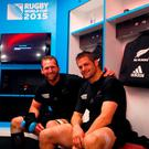 Kieran Read and Richie McCaw sit in the dressing room following the 2015 Rugby World Cup Semi Final match between South Africa and New Zealand at Twickenham Stadium on October 24, 2015 in London, United Kingdom. (Photo by Phil Walter/Getty Images)