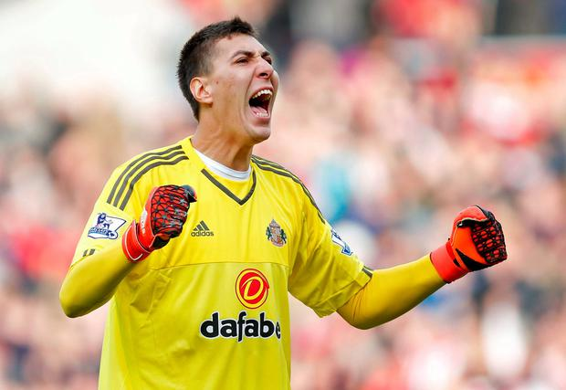 Football - Sunderland v Newcastle United - Barclays Premier League - Stadium of Light - 25/10/15 Sunderland's Costel Pantilimon celebrates Reuters / Andrew Yates Livepic EDITORIAL USE ONLY. No use with unauthorized audio, video, data, fixture lists, club/league logos or