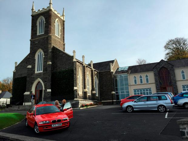 The First Holywood Presbyterian Church, Co Down, where John Rodgers, 28, and his wife Lynette, 26, were married last Saturday, October 17 Credit: Lesley-Anne McKeown/PA Wire