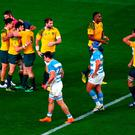 LONDON, ENGLAND - OCTOBER 25: Adam Ashley-Cooper of Australia is congratulated by team mates on scoring their fourth try and his hat trick during the 2015 Rugby World Cup Semi Final match between Argentina and Australia at Twickenham Stadium on October 25, 2015 in London, United Kingdom. (Photo by Shaun Botterill/Getty Images)