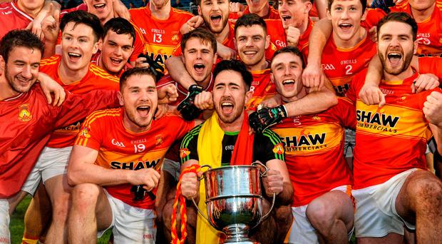 Castlebar Mitchels players celebrate at the end of the game. Mayo County Senior Football Championship Final, Breaffy v Castlebar Mitchels