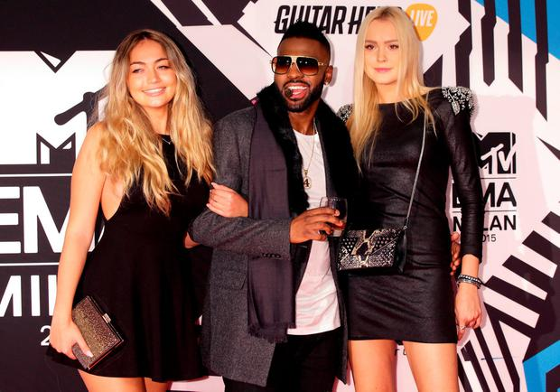 Jason Derulo (centre) and guests attending the MTV European Music Awards 2015 held at the Mediolanum Forum di Assago in Milan, Italy. Picture date: Sunday October 25, 2015. See PA Story: SHOWBIZ EMA. Photo credit should read: Yui Mok/PA Wire