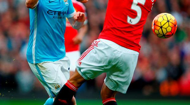 Kevin De Bruyne received plenty of close attention from Manchester United and Marcos Rojo