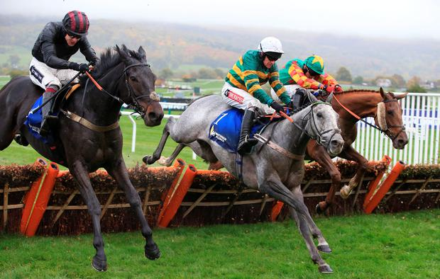 Winner Devilment ridden by jockey Aidan Coleman (left) jumps the final hurdle to beat the favorite Hargam ridden by Barry Geraghty (centre) who finished 4th and 3rd placed Lil Rockerfeller ridden Trevor Whelan (right) in The Masterson Holdings Hurdle Race during day two of The Showcase at Cheltenham Racecourse. PRESS ASSOCIATION Photo. Picture date: Saturday October 24, 2015. See PA story RACING Cheltenham. Photo credit should read: Nick Potts/PA Wire