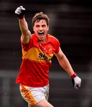 Castlebar's Neil Douglas celebrates after scoring his side's third goal in the Mayo County Senior Football Championship Final against Breaffy