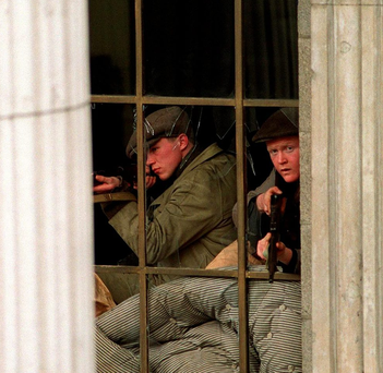A scene from the movie 'Rebel Heart', depicting rebels firing from within the GPO