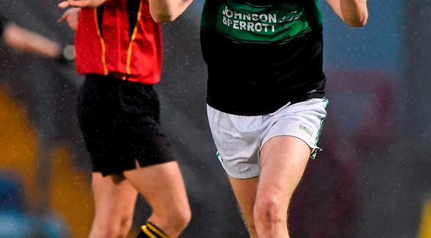 Nemo Rangers' James Masters celebrates at the final whistle after winning the Cork SFC final replay in Páirc Ui Rinn