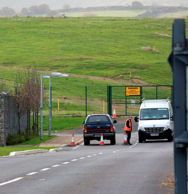 The entrance to the temporary traveller site at the Ballyogan Depot Car Park, on the Ballyogan Road in Stepaside. Picture Credit: Frank Mc Grath 22/10/15