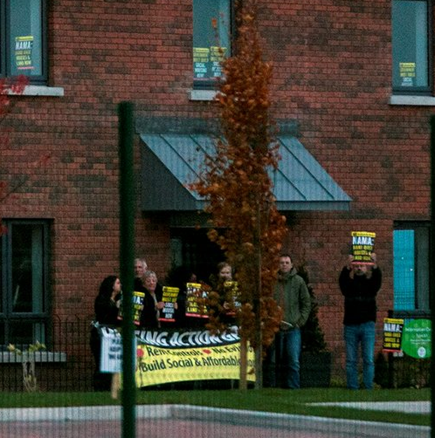 Protesters join the Anti-Austerity Alliance protest outside the showhouse